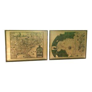 World Maps Reproduction Prints - Set of 2